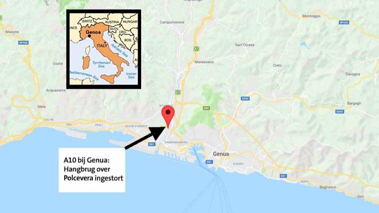 genua italie kaart Hangbrug bij Genua ingestort   ANWB