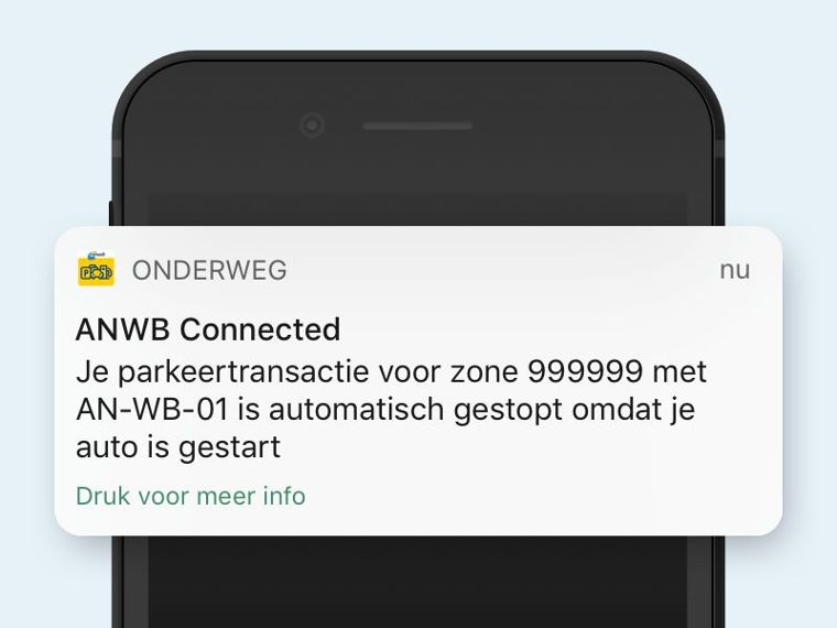 ANWB Connected Parkeren notificatie