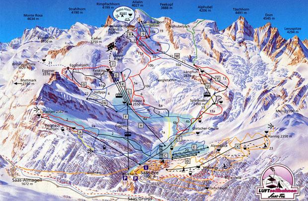 wintersport saas fee sneeuwhoogte skipas skigebied